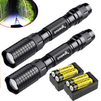 2Sets Garberiel 90000LM T6 LED Zoomable Flashlight Aluminum Torch +18650&Charger