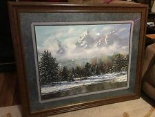 Beautiful & Rare Home Interiors & Gifts Large Framed Picture Of Mountain Scene