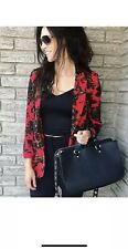ZARA RED FLOWING FLORAL PRINT BLAZER JACKET WITH FRONT FLAP POCKETS SIZE M BNWT