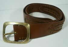 """Calvin Klein Brown Woven Leather Belt with Brass Buckle M 32"""" to 36"""""""