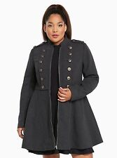 Torrid Charcoal Gray Black Long Military Coat Size:  2 18 20 2X #5134