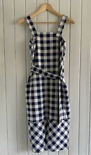 Whistles Gingham Check Checked Gita Apron Midi Dress Blue 10