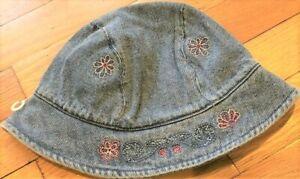 NEW Vintage 2002 GYMBOREE Denim BUTTERFLIES Sun HAT Flowers Sz S M 3T 3 4T 4 NWT
