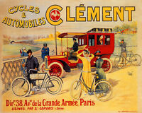 POSTER CYCLES AUTOMOBILES CLEMENT FRENCH CAR BICYCLE VINTAGE REPRO FREE S/H