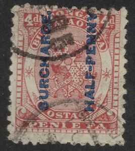 Tonga Sc. #21 1/2p on 4p  Stamps of 1886-92 Overprinted in blue or black  1894