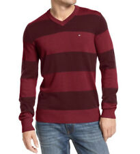 New Mens Tommy Hilfiger Signature Biking Red Stripe  V Neck Pullover Sweater XXL