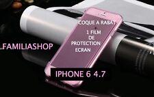 Housse étui pochette coque rabat silicone rose iphone 6 4.7 + 1 film