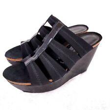 Donald J Pliner Women Wedge Sandal 7M Black Patent Leather Open Toe Strappy Cork