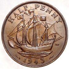 GREAT BRITAIN 1/2 Penny Half Penny 1943 №5529