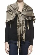 "GUCCI SURVIEE SHAWL SCARF SILK WOOL BLEND -55 x 55"" -BEIGE /DARK BROWN -NWT"