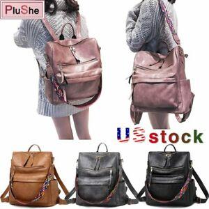 Retro Large Backpack Women PU Leather Rucksack Travel Knapsack Shoulder Bag US