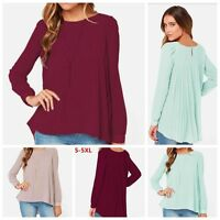 Casual Womens lady Loose Long Sleeve T-Shirt Blouse Chiffon Summer Shirts Tops