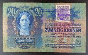 (1919) Yugoslavia - Second Provisional Issue 20 Kronen Banknote, P-7.