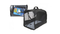 FOLD FLAT TRAVEL PET CARRIER WITH STRAPS & NET GREY BLACK UK STOCK F&F D