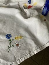 Vintage Floral Embroidered Linen Tablecloth 102x57🌹