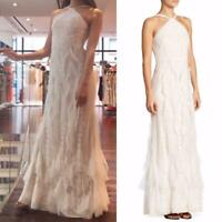 BCBG Max Azria Ruffled Lace Halter Open Back Gown Dress White Bridal Wedding