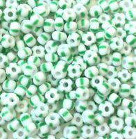 6/0 Preciosa Czech Seed Beads Opaque Green/white Stripes round Glass beads-30Grm
