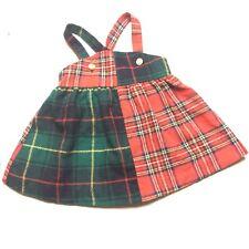 Vtg Baby Girls 12m Dress Red Green Plaid Jumper Tartan Xmas Wool Gold Buttons