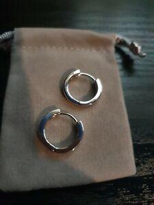 9ct White Gold Huggie Hoop 2cm Earrings - 375 - Brand New