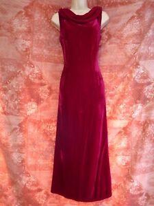 Laura Ashley red velvet silk wedding sleeveless evening party dress size 12 14
