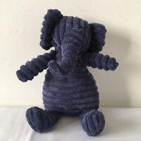 Jellycat Navy Blue Cordy Roy Elephant Beanie Plush Soft Toy Comforter H 10 inch