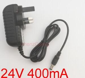 UK AC 100V-240V DC 24V 400mA Switching Power Supply 0.4A Adaptor 5.5mm x 2.1mm
