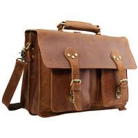 """Men Briefcase Messenger 15.6"""" Laptop Bag Saddleback Portfolio Satchel Leather"""