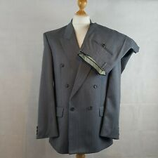 The Lable Mens Suit Blazer Jacket Trousers Grey Size 40R Wool Double Breasted