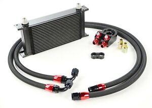 Toyosports 19 Fila Universal Aleación Carreras Motor Transmisión Aceite Cooler