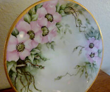"""Antique Handpainted Silesia Pink Wild Roses Porcelain 7 5/8"""" Plate EXCELLENT!"""