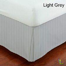 1000 TC Pima Cotton Box Pleat Bedskirt Bed Valance Light Grey Stripe