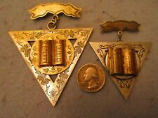 Two Rare Vintage Knights of Pythias Bible Silver &  Gold Tone Pin Brooch Jewelry