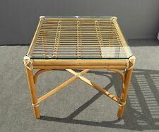 Mcguire Mid Century Rattan Bamboo Gl Top End Table Nightstand Coffee