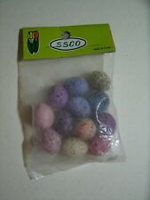 "12 vintage PASTEL speckled EGGS decoration craft supply 7/8"" shabby chic easter"