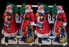Vintage Scrap Paper MLP 785 Die Cut Glanzbilder Oblaten 4 Santa Claus Bag o Toys