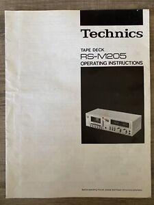 Technics Tape Dec RS-M205 Operating Instructions