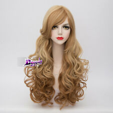 65CM Mixed Light Brown Long Curly Hair Lolita Ombre Anime Cosplay Wig + Wig Cap