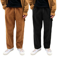 Mens Elastic Waist Corduroy Loose Straight Wide Legs Long Pants Casual Trousers