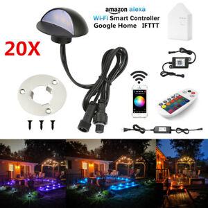 20X Low Voltage WIFI Bluetooth 50mm Black Half Moon LED Deck Stair Step Lights