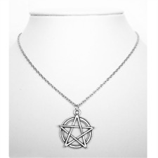"Pentagram Star Pendant 19"" Chain Necklace - Wiccan Pagan Gothic Pentacle"