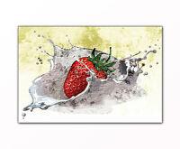Küchenbild Erdbeere Splash abstrakt gerahmt XXL Bild auf Leinwand als Kunstdruck