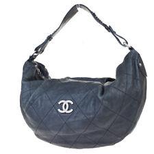 Authentic CHANEL CC Logo Chain Shoulder Bag Caviar Skin Leather Black 94ET727