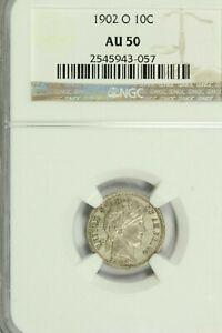1902-O Barber Dime : NGC AU50