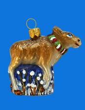 Small Moose European Blown Glass Christmas Tree Ornament Holiday Decoration