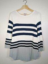 Kenar Striped Jumper Size XL Blue Ivory Grey Long Waffle Knit Cotton