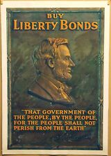 BUY LIBERTY BONDS Linen MOUNTED Original 1918 Poster PRESIDENT LINCOLN *REDUCED