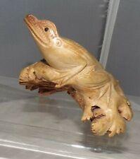 Hand Carved Wood Parasite Burl Frog Figurine