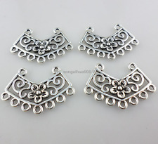 13pcs Necklace Connectors Tibetan Silver Charms Bails Flower Pendants 27*18mm