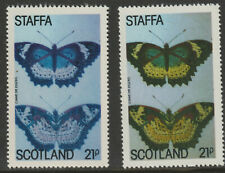 GB Locals - Staffa 909670- 1979 BUTTERFLY 21p - two superb shades mnh