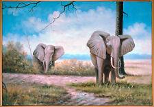 2 Elefantenbullen sich nähernd,  Öl-Malerei Leinwand James Wilson *1965 Durbam